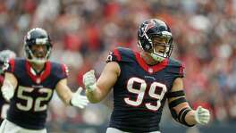 J.J. Watt enjoys his lone full sack of the season, against the Chiefs' Alex Smith.