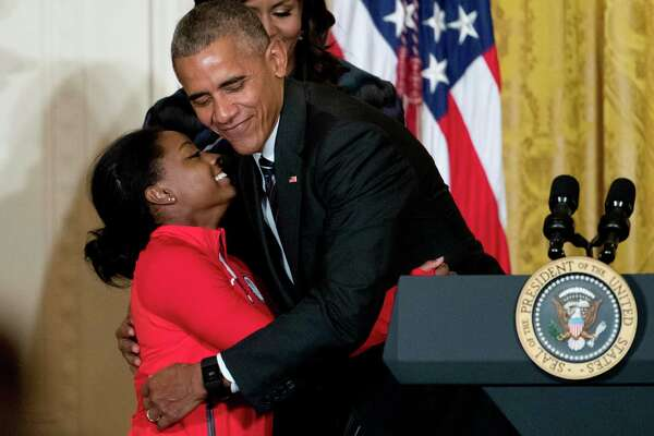 Spring's Simone Biles met President Barack Obama during a ceremony in the East Room of the White House on Thursday.