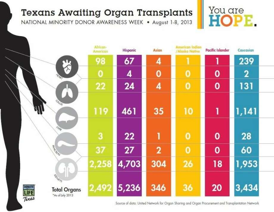 Donate Life Texas, the state's group of organ, eye and tissue donation professionals, celebrates Aug. 1-8 as National Minority Donor Awareness Week. The nationwide observance aims to educate minorities on the desperate need for organ, eye and tissue donors within multicultural communities.