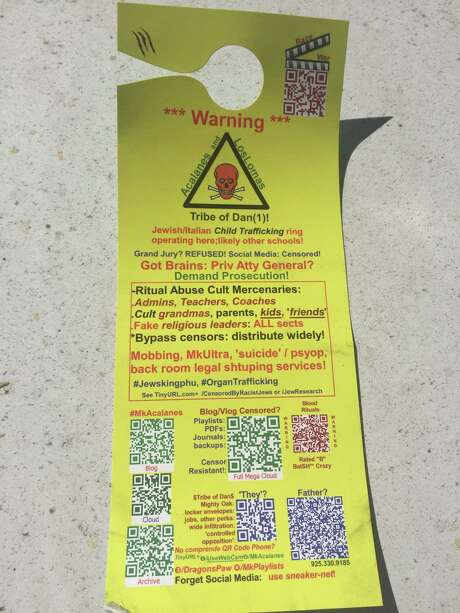 One of the racist flyers found outside the BART station in Lafayette. Photo: Michael Bodley / The Chronicle / Michael Bodley