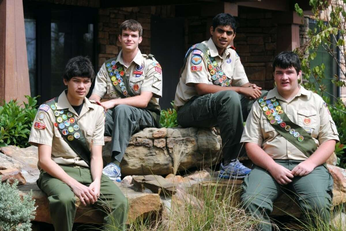 Troop 599 Scouts earning the rank of Eagle recently were (from left) Milen Good, Grant Kirchhofer, Nikhil Kumar and Grant Brann.