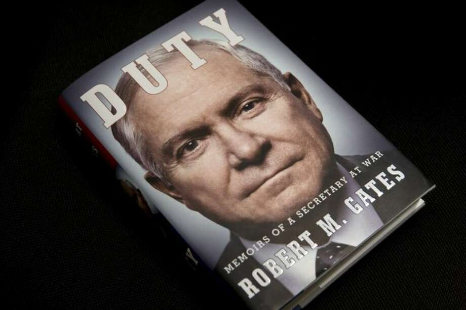 "The book entitled: ""Duty: Memoirs of a Secretary of War,"" by former Defense Secretary Robert Gates is seen in Washington Wednesday."