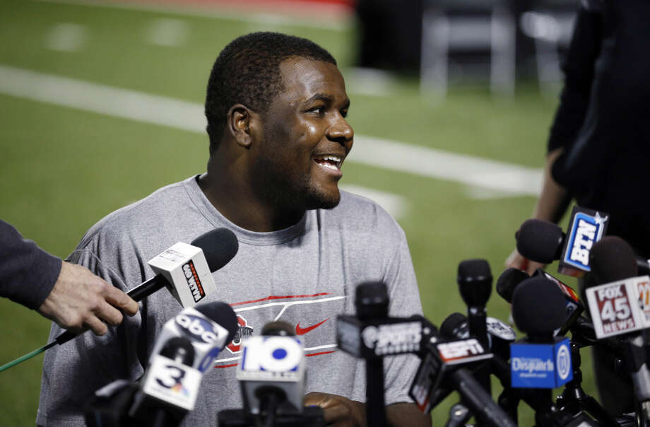 Ohio State quarterback Cardale Jones talks during a news conference on Tuesday in Columbus, Ohio. Photo: AP Photo By Adam Cairns