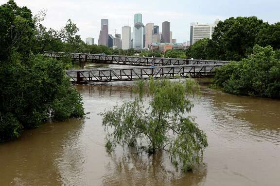 The water was high on Buffalo Bayou April 18 as parts of the city were flooded.