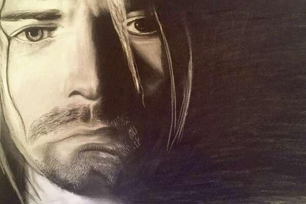 "Bryce Rose's charcoal drawing ""Kurt Cobain"""