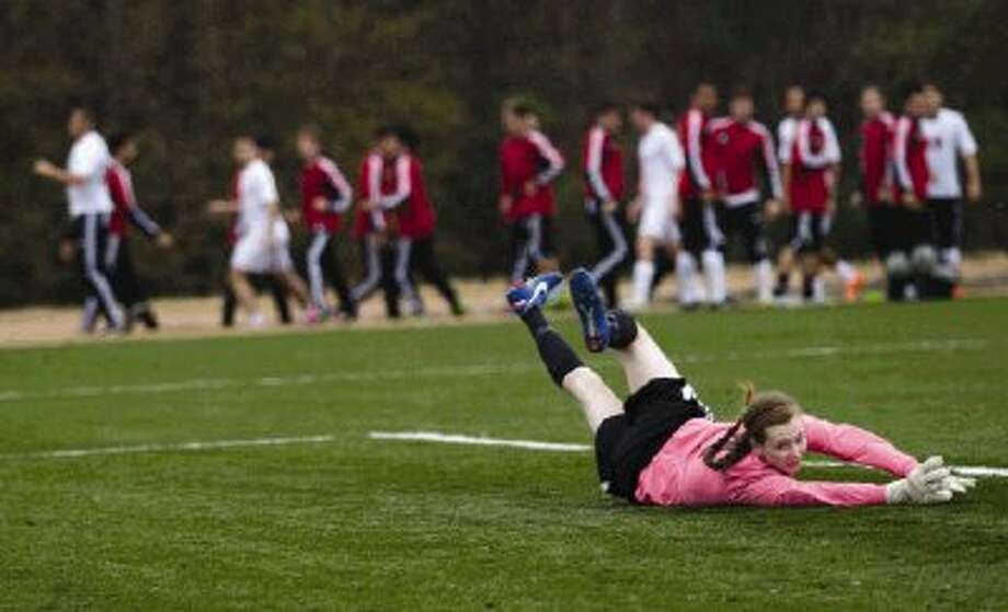 College Park goalkeeper Grace Johnson watches the ball go out of bounds after making a save against Cinco Ranch on Friday. To view or purchase this photo and others like it, visit HCNpics.com. Photo: Staff Photo By Ana Ramirez / The Conroe Courier/ The Woodland