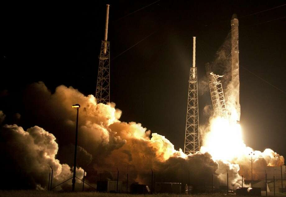 The Falcon 9 SpaceX rocket lifts off Saturday from Space Launch Complex 40 at the Cape Canaveral Air Force Station in Cape Canaveral, Fla. Photo: John Raoux