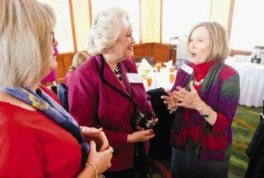 Judy Rushton, president of the Texas Federation of Republican Women, talks with members of The Woodlands Republican Women before their meeting Wednesday. Photo: Jason Fochtman