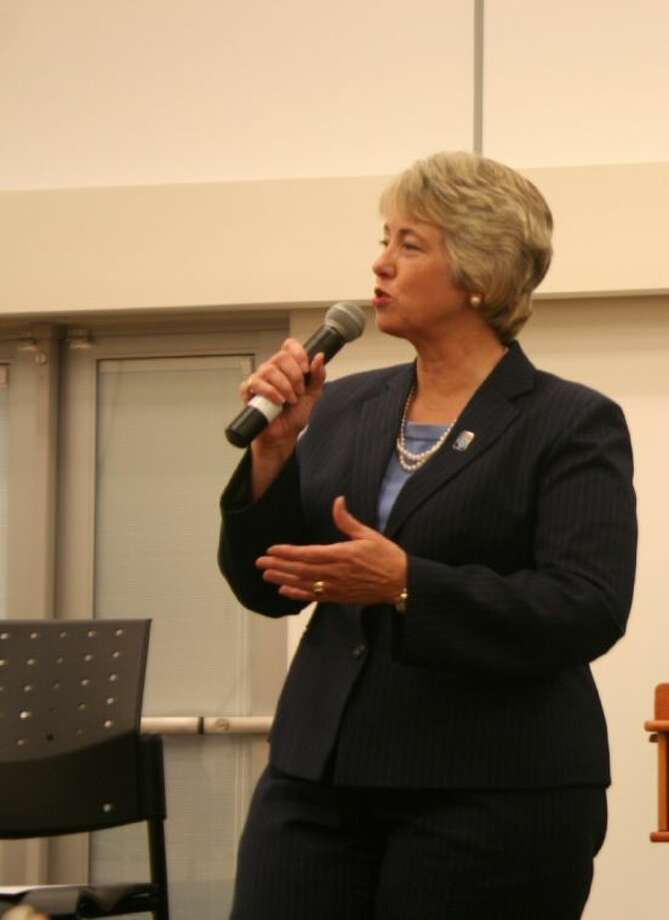 Mayor Annise Parker held a town hall meeting at Lone Star College Kingwood Sept. 4. Photo: Nate Brown