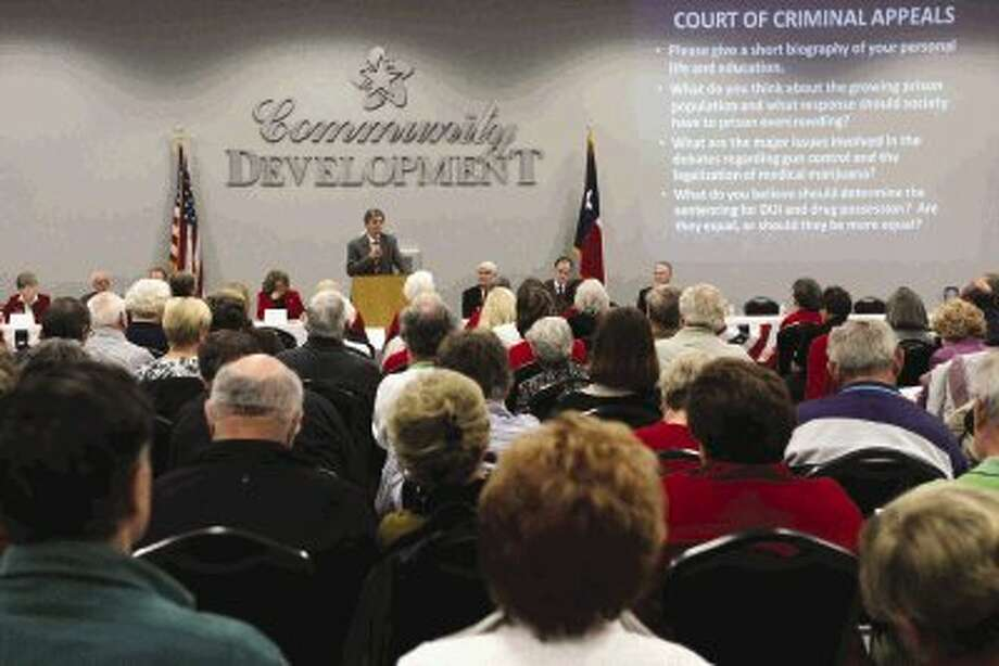 More than 250 voters attended a Republican candidate forum for state and federal elected offices Thursday in Montgomery. Photo: Staff Photo By Jason Fochtman / Conroe Courier
