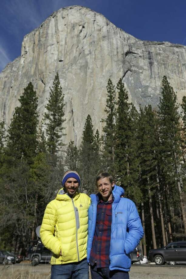 Climbers Kevin Jorgeson, left, and Tommy Caldwell at the base of El Capitan after a news conference Thursday in Yosemite National Park. Photo: Ben Margot