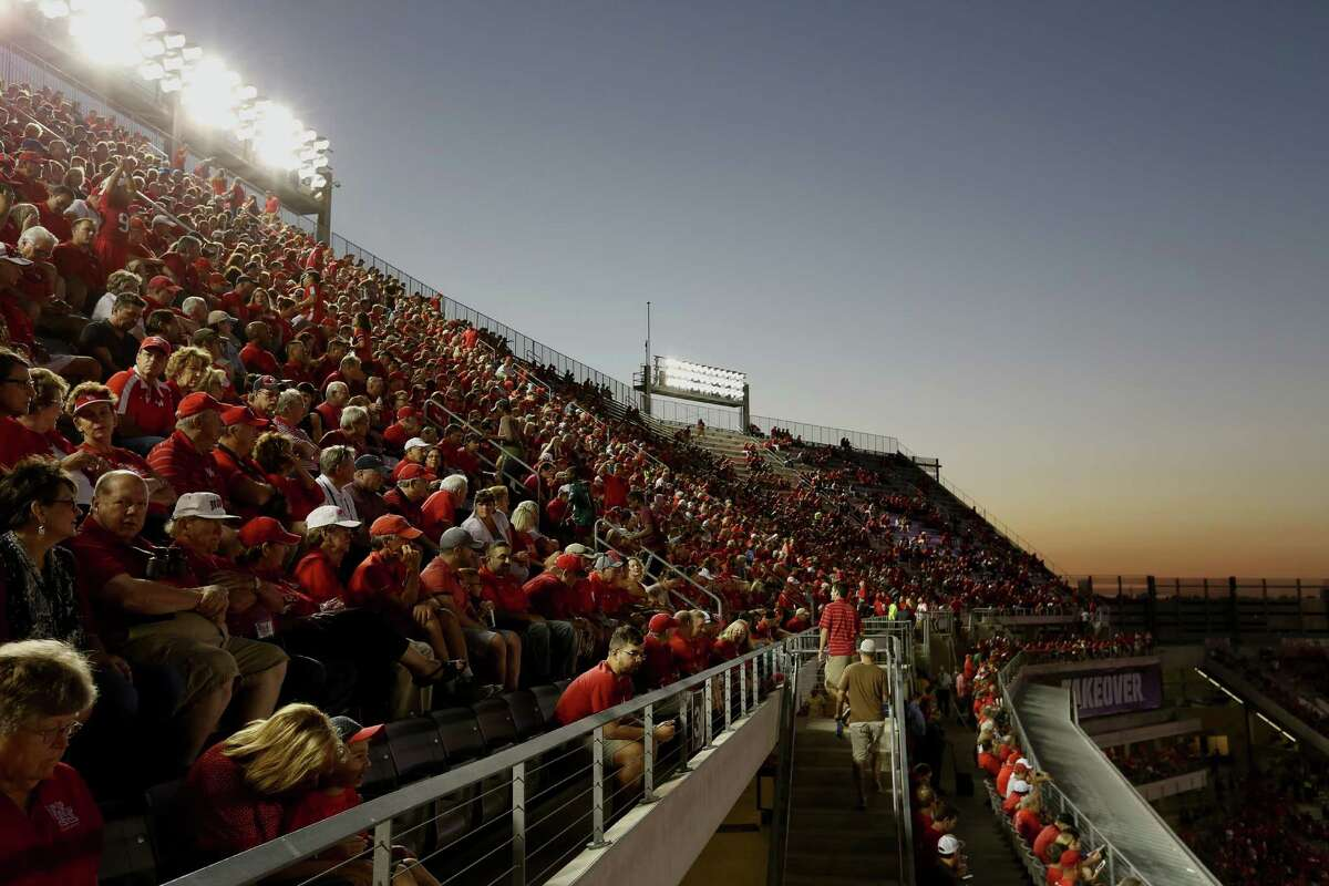 The third level of TDECU Stadium is seen during sunset hours of the game between University of Houston and University of Connecticut Thursday, Sept. 29, 2016, in Houston.