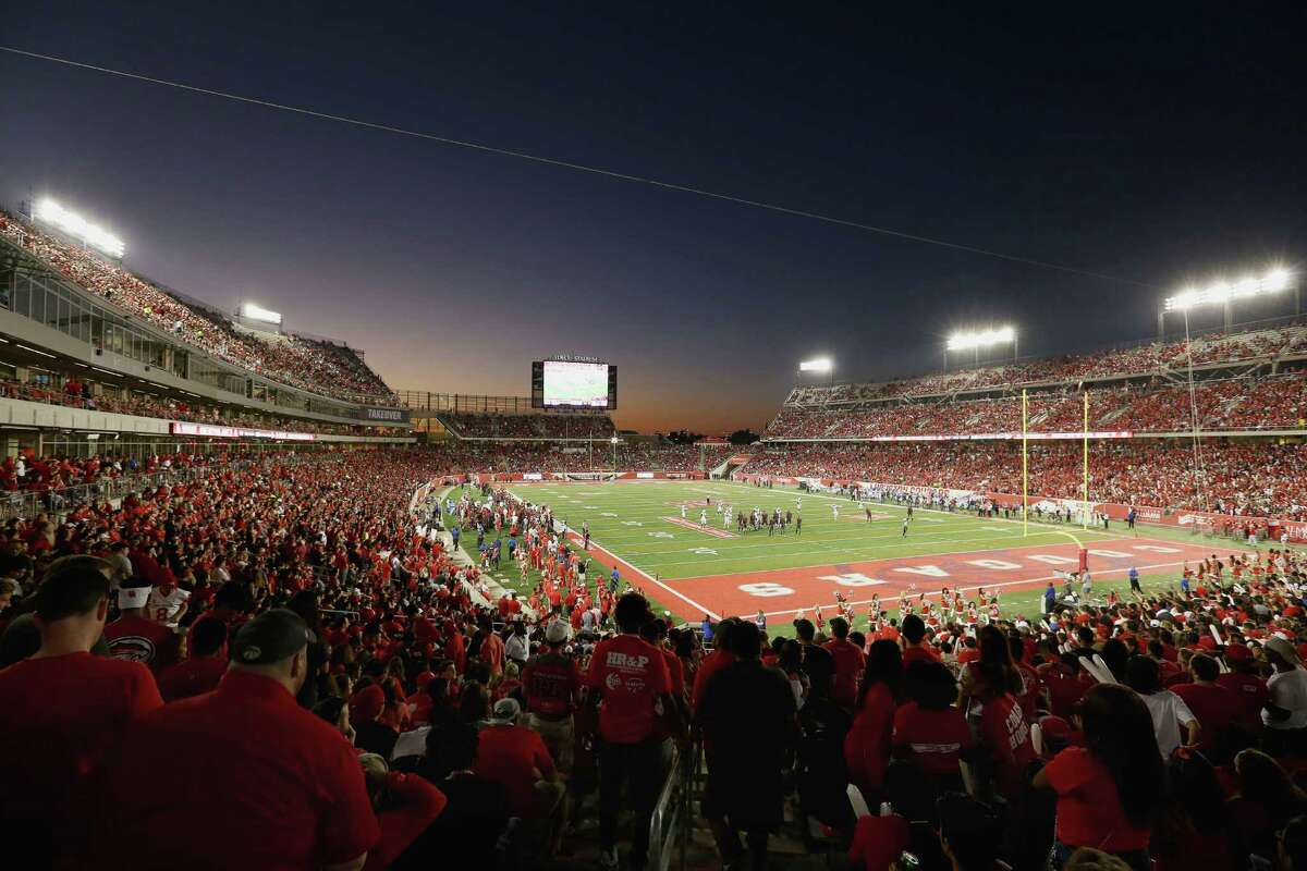 The first level of TDECU Stadium is seen during sunset hours of the game between University of Houston and University of Connecticut Thursday, Sept. 29, 2016, in Houston.