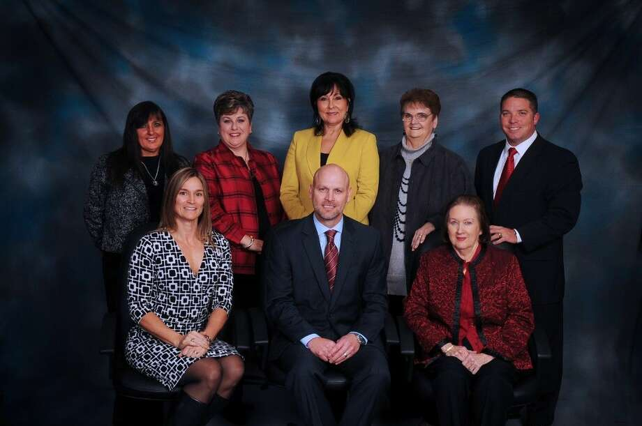 Willis ISD board members, from left to right (back row), Elizabeth McKenna, secretary; Christen Arnold, president; Rebecca Broussard; Sue Ann Powell, vice president; Cliff Williams; (front row) Robin Sproba; WISD Superintendent Tim Harkrider; and Beverly Vorsand.