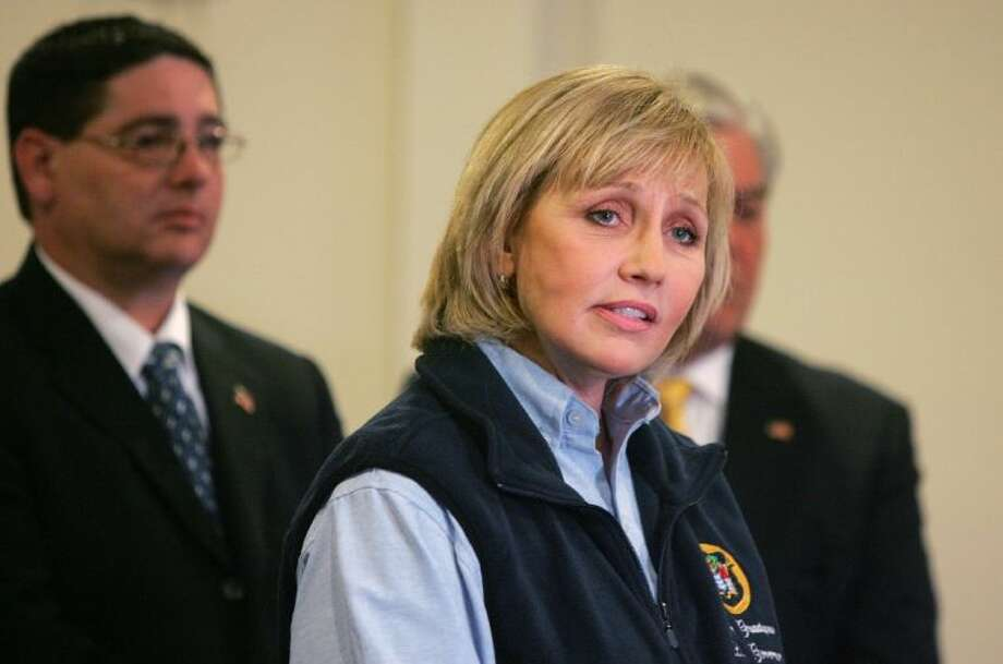 Lt. Gov. Kim Guadagno speaks to the press during the the Dr. Martin Luther King, Jr. National Day of Service in Union Beach, N.J., Monday. Guadagno denied allegations by the Hoboken mayor that Superstorm Sandy relief funding was withheld from Hoboken because the mayor wouldn't sign off on a politically connected real estate venture. Photo: Tanya Breen