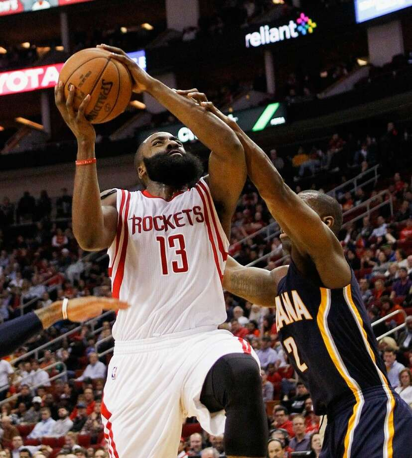 Rockets guard James Harden scored 45 points in Monday's victory over the Indiana Pacers. Photo: Bob Levey