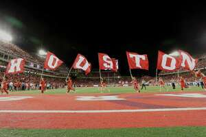 University of Houston celebrate a touchdown during the first half of the game against University of Connecticut at TDECU Stadium Thursday, Sept. 29, 2016, in Houston.