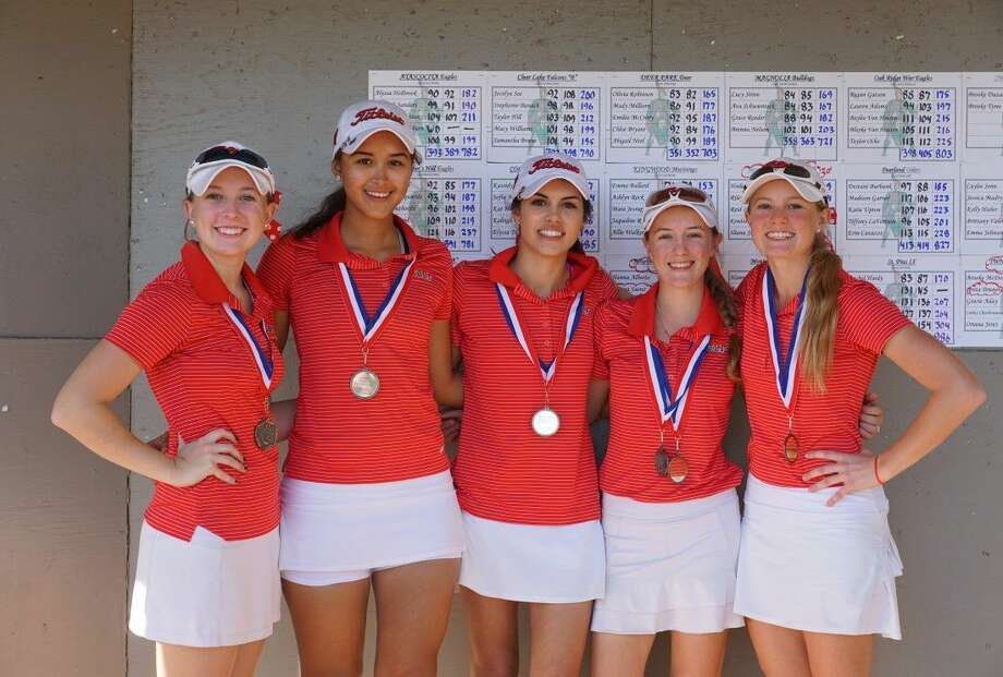 The Woodlands girls golf team of Brooke McDougald, Greta Bruner, Gracie Aday, Carley Charbonneau and Oriana Jerez captured first place at the Vern Edwards Memorial Invitational.