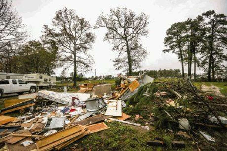 A tornado ripped through north Willis on Saturday, Dec. 12, destroying several trailer homes at Convenience RV Park off of Texas 75. Photo: Michael Minasi