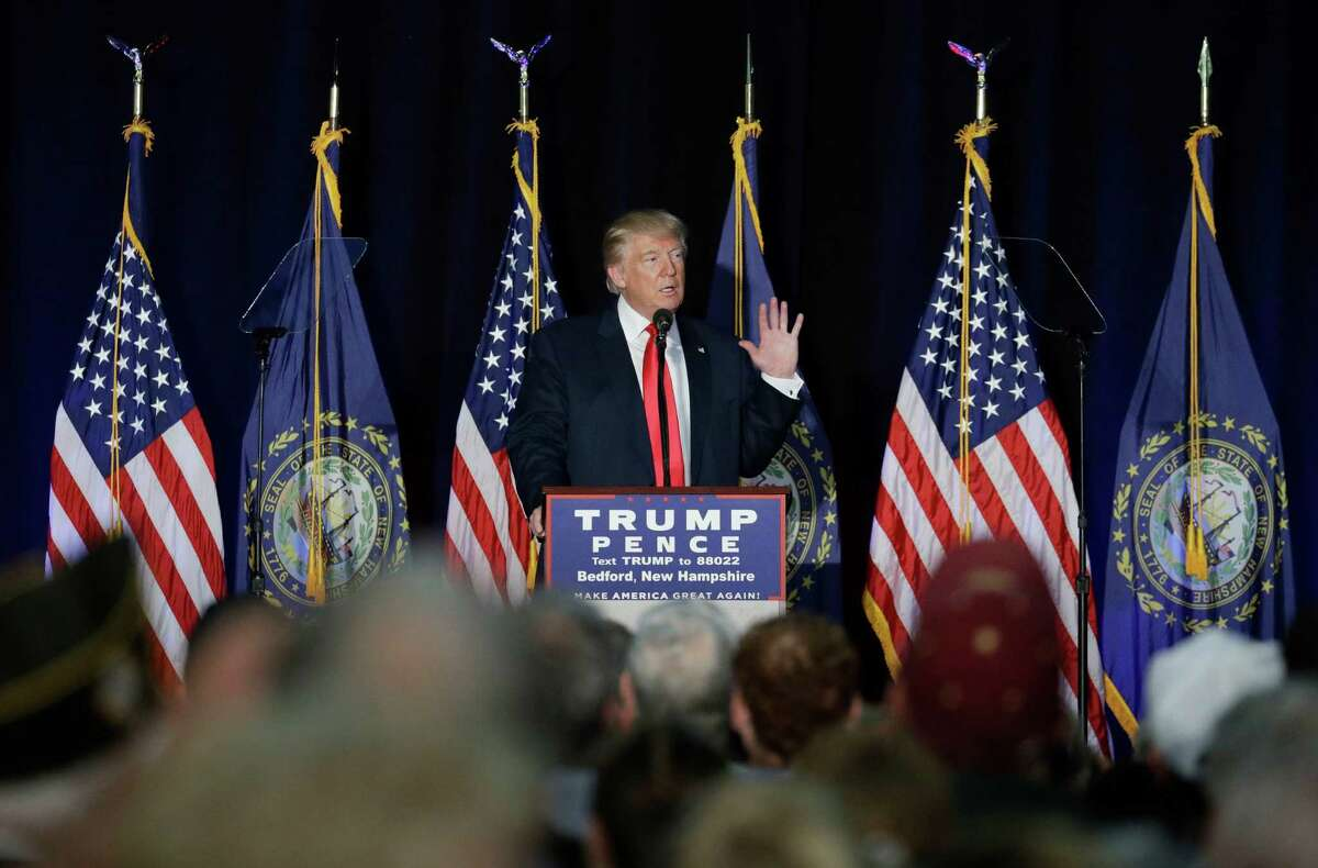 Republican presidential candidate Donald Trump speaks at a camoaign rally, Thursday, Sept. 29, 2016, in Bedford, N.H. (AP Photo/John Locher) ORG XMIT: NHJL201