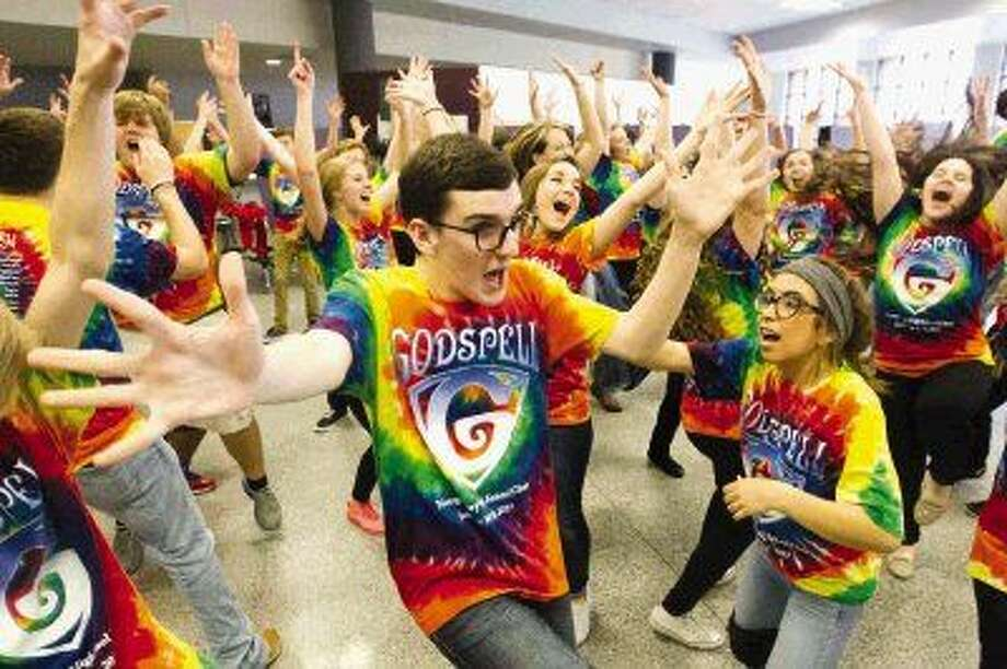 "Andrew Steward, center, during rehearsal for the musical ""Godspell"" on Wednesday at Montgomery High School Wednesday. Photo: Jason Fochtman"