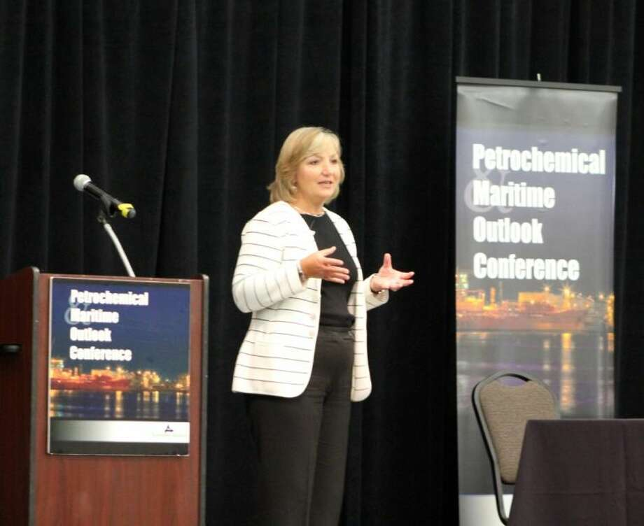 """The petrochemical industry faces a number of challenges in terms of workforce development according to Lynne Lachenmyer, Senior Vice President for ExxonMobil Chemical Company in Houston. """"In the U.S. market we see a retirement bubble facing us as roughly 30 percent of our workforce is becoming retirement eligible in the next five to 10 years,"""" Lachenmyer said at a press conference following the Petrochemical and Maritime Outlook Conference Thursday (Sept. 5)."""