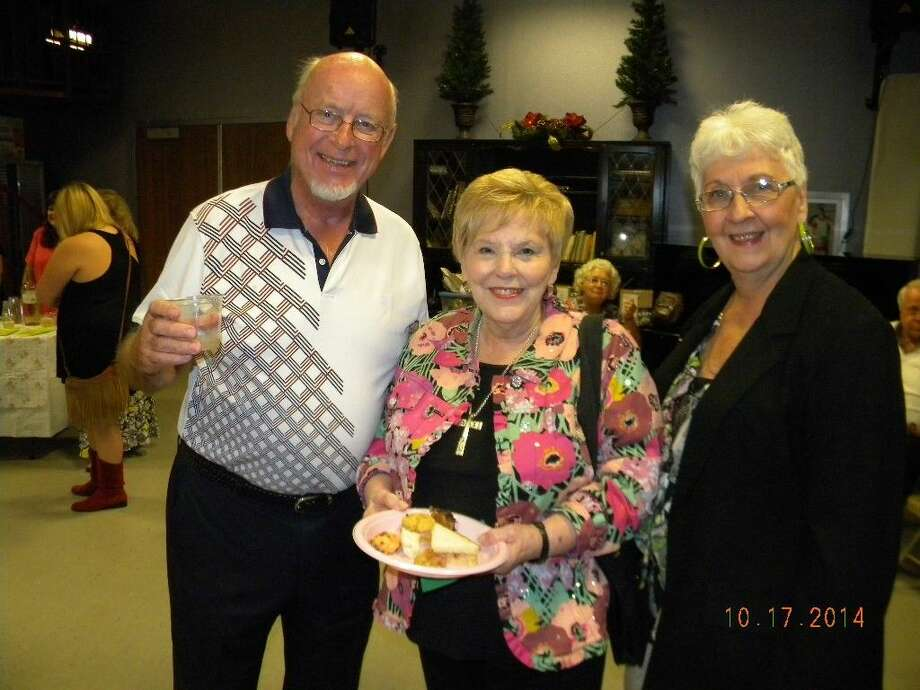 """Derry Copland, Pat Bourgeois and Mary Case chat during the First Nighters party following a recent opening at downtown Conroe's Owen Theatre, home of The Players Theatre Company. The Players present comedy """"Almost, Maine"""" weekends Jan. 30 through Feb. 15."""