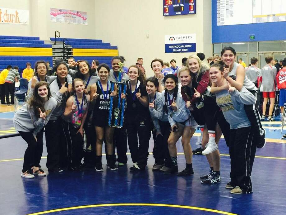 The Conroe girls wrestling team won the District 9 team dual championship on Saturday at Klein High School.