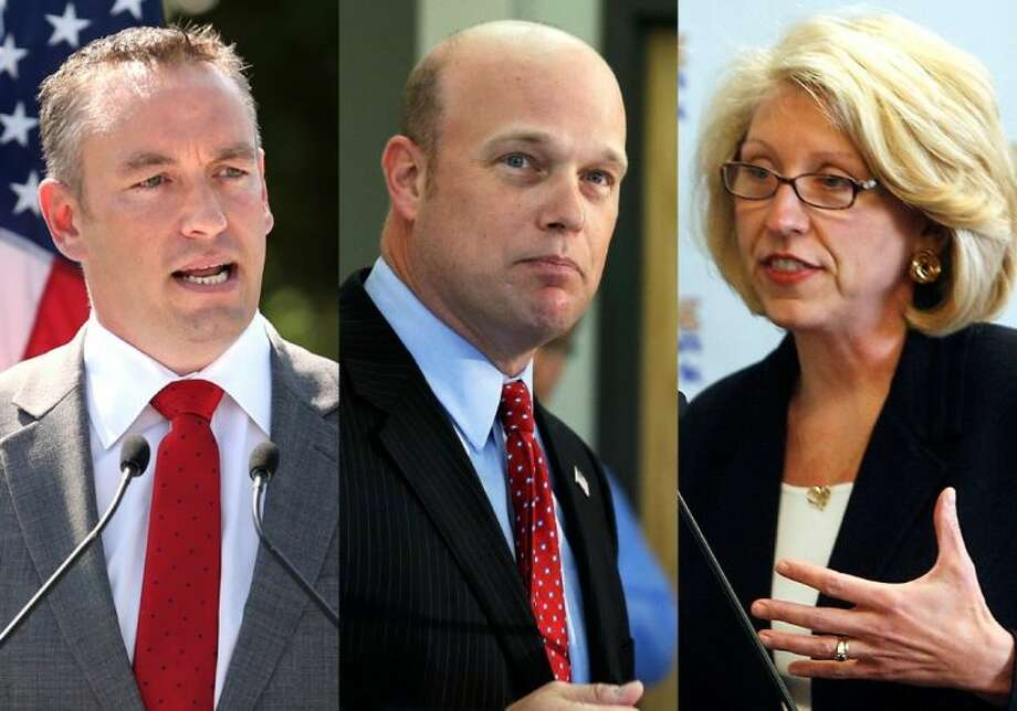 In this combination of file photos are U.S. Senate candidates, from left: Shane Osborn, Nebraska; Matt Whitaker, Iowa, and Terri Lynn Land, Michigan. Having watched several promising campaigns collapse in 2012 after candidates made catastrophic mistakes, Osborn, Whitaker and Land are three contenders summoned by national Republican leaders to a first-of-a-kind training at the GOP's Senate campaign headquarters in Washington, to learn in part, what not to say and how not to say it. Photo: MBO