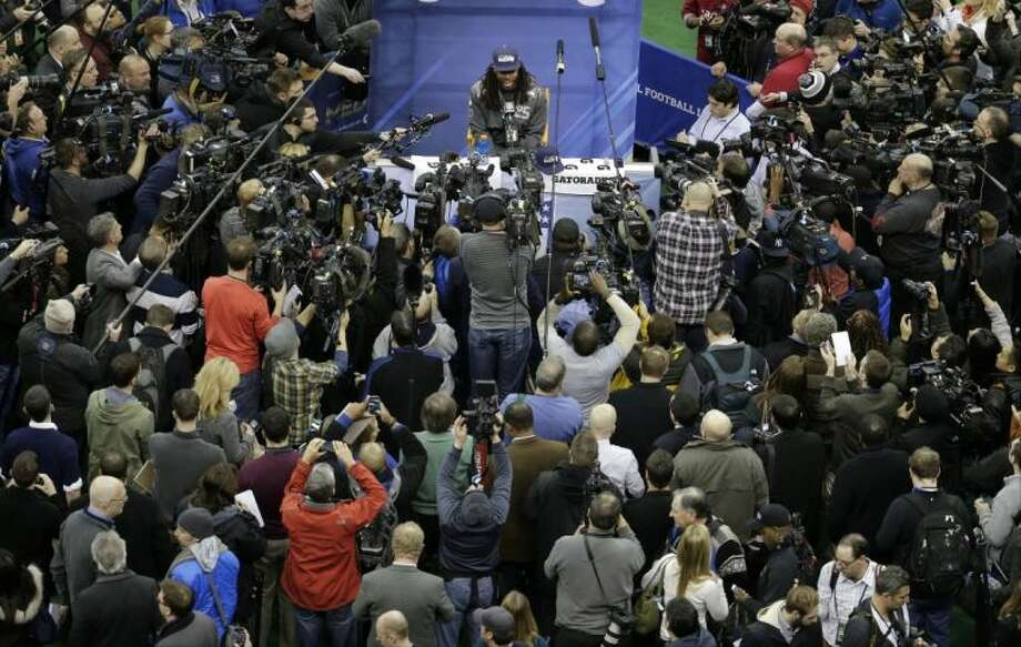 Seattle Seahawks cornerback Richard Sherman answers a question during media day for Super Bowl XLVIII on Tuesday in Newark, N.J. Photo: Charlie Riedel