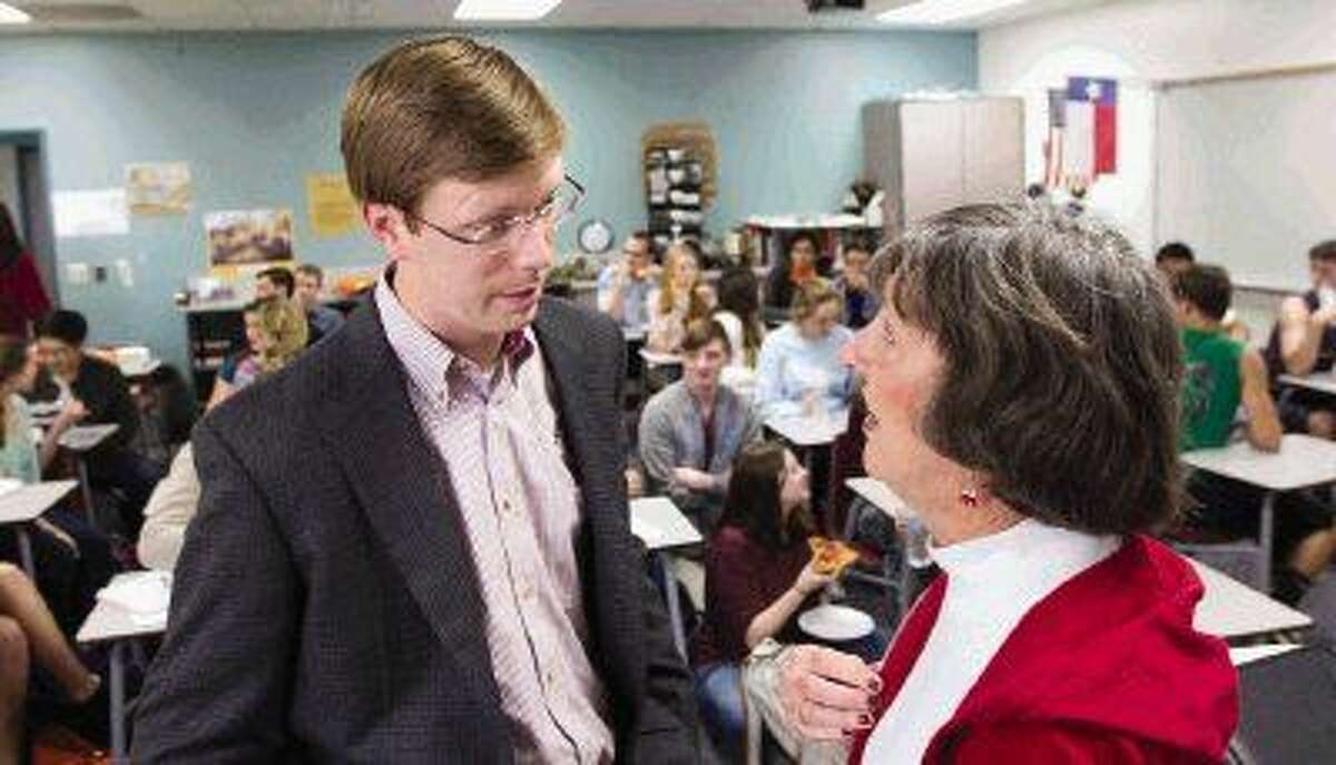 State Representative, District 16, Will Metcalf meets with Ann Kate before speaking with members of Willis High School's Young Republicans group Thursday.