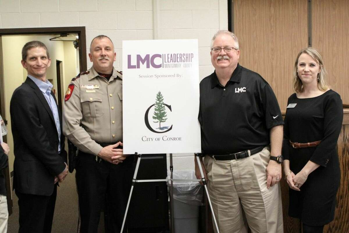 The Leadership Montgomery County (LMC) Class of 2016 recently enjoyed a day learning about public safety in Montgomery County at the LMC Public Safety Session sponsored by the City of Conroe. Pictured left to right are LMC Chairman of the Board Rob Koester of Consolidated Communications, Lieutenant Brady Fitzgerald of the Montgomery County Sheriff's Office, current class member Scott Taylor of the City of Conroe, and LMC Executive Director Sarah Rhea. For more information about Leadership Montgomery County, please visit LMCTX.org.