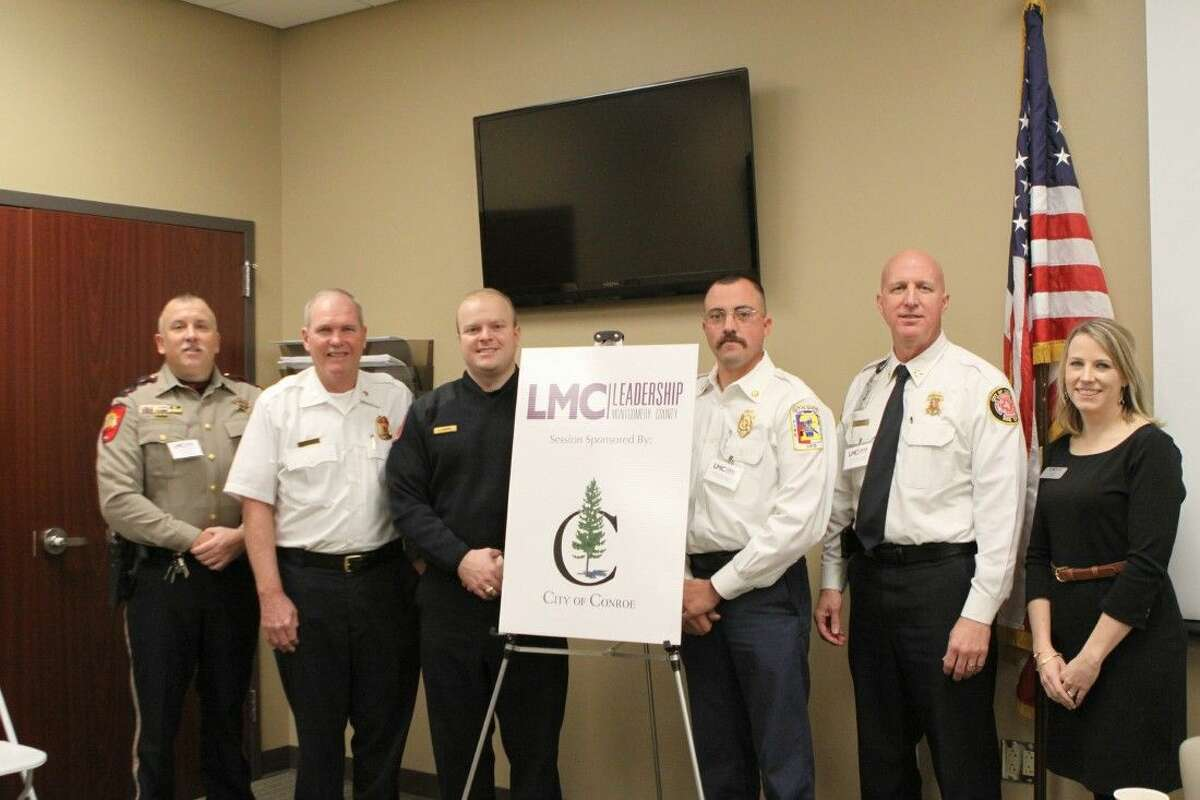 The Leadership Montgomery County (LMC) Class of 2016 recently enjoyed a day learning about public safety in Montgomery County at the LMC Public Safety Session sponsored by the City of Conroe. The day featured a Fire and EMS Panel at The Woodlands Fire Department Central Station. Pictured left to right are LMC Public Safety Session Director and Montgomery County Sheriff's Office Lieutenant Brady Fitzgerald, The Woodlands Fire Chief Alan Benson, Montgomery County Hospital District Director of Emergency Medical Services Jared Cosper, Cut and Shoot Fire Department Chief Josh Montgomery, City of Conroe Fire Chief Ken Kreger and LMC Executive Director Sarah Rhea. For more information about Leadership Montgomery County, please visit LMCTX.org.