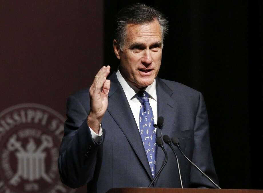 Former GOP presidential candidate Mitt Romney speaks Wednesday at Mississippi State University in Starkville, Miss.
