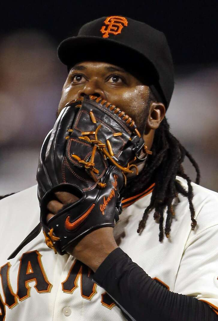 San Francisco Giants' starting pitcher Johnny Cueto heads to the dugout after giving up 2 runs in 1st inning to Colorado Rockies during MLB game at AT&T Park in San Francisco, Calif., on Thursday, September 29, 2016.