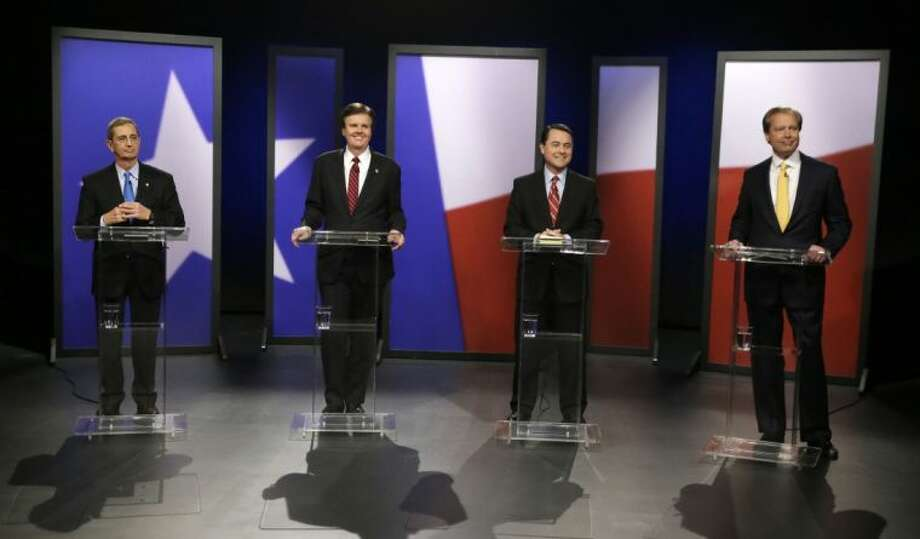 Republican Texas lieutenant governor candidates from left, Land Commissioner Jerry Patterson, Sen. Dan Patrick, Agricultural Commissioner Todd Staples and Lt. Gov. David Dewhurst take their places for a debate at KERA studios in Dallas Monday.