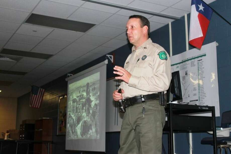Caprock Canyon State Park Superintendent Donald Beard speaks to York Junior High seventh-graders about the Texas Bison conservation effort in the Texas Panhandle.