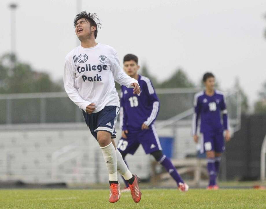 College Park's Rodrigo Perez reacts after missing a shot during a high school soccer game against Katy Morton Ranch Thursday. To purchase this photos and other like it, go to HCNpics.com. Photo: Jason Fochtman