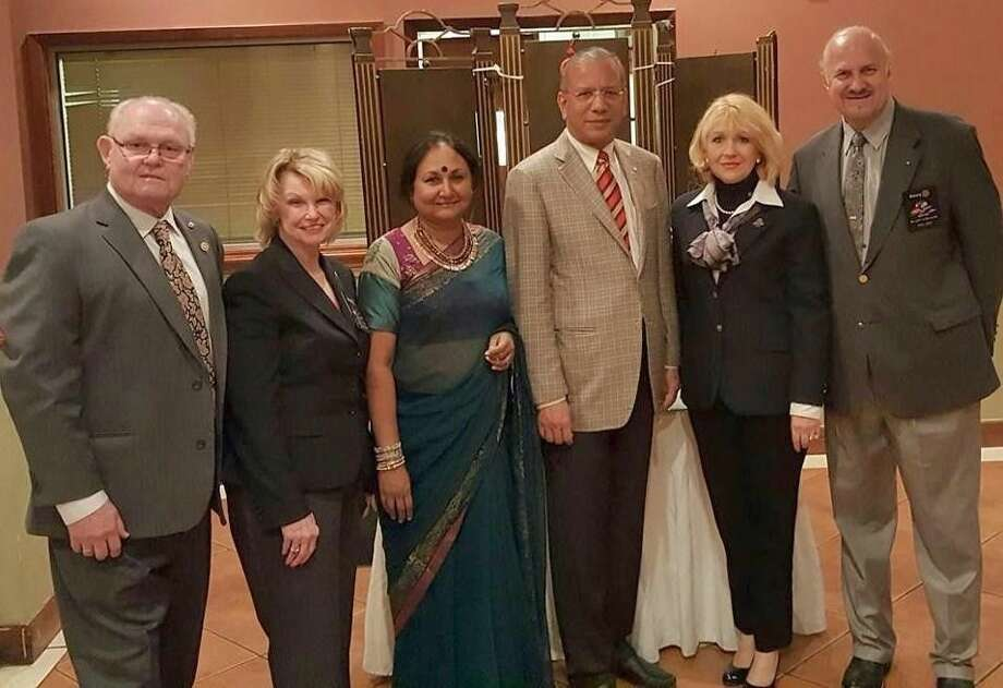 """Houston Area Rotary District 5890 and our local Rotary District 5910 recently hosted the Rotary International President and his wife in Houston for the All Club Celebration of Gifts Dinner. Pictured are Rotarian Wally Lockey, 5910 District Governor Doris Lockey, RI First Lady Vanathy Ravidran, RI President K.R. """"Ravi"""" Ravindran, Fabiola Sanchez Giannone and 5890 District Governor Nick Giannone."""