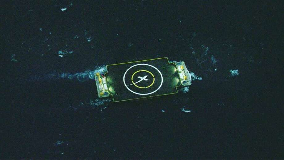 SpaceX plans to land a booster rocket on this ocean barge. Photo: HONS