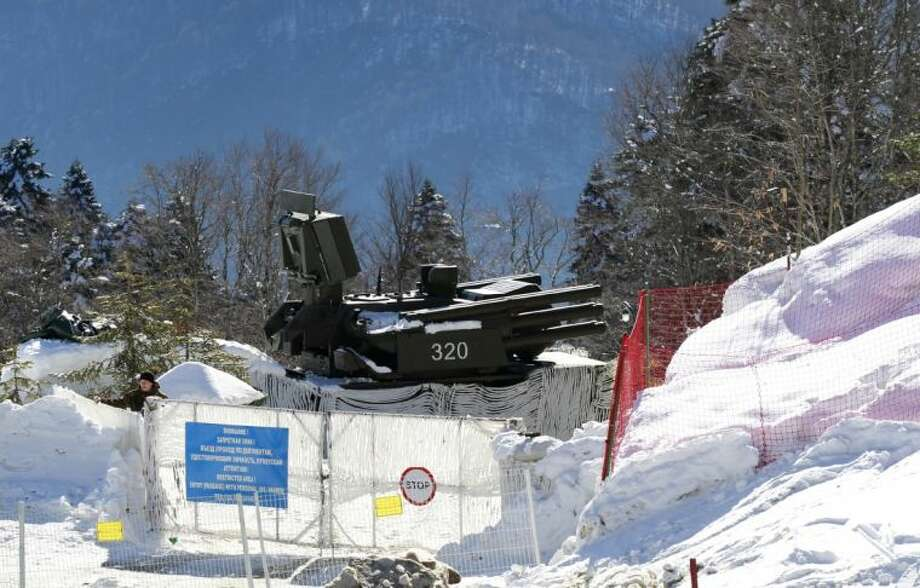 An anti-aircraft missile base sits outside the cross-country skiing venue prior to the 2014 Winter Olympics in Krasnaya Polyana, Russia Thursday. Photo: STF