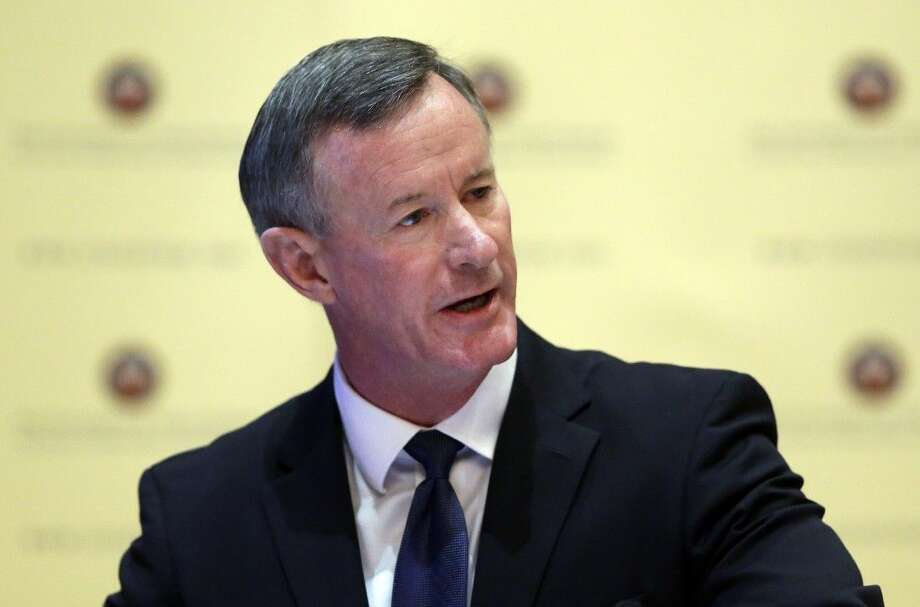Retired U.S. Navy Adm. William McRaven addresses the Texas Board of Regents on Aug. 21 in Austin. Photo: Eric Gay