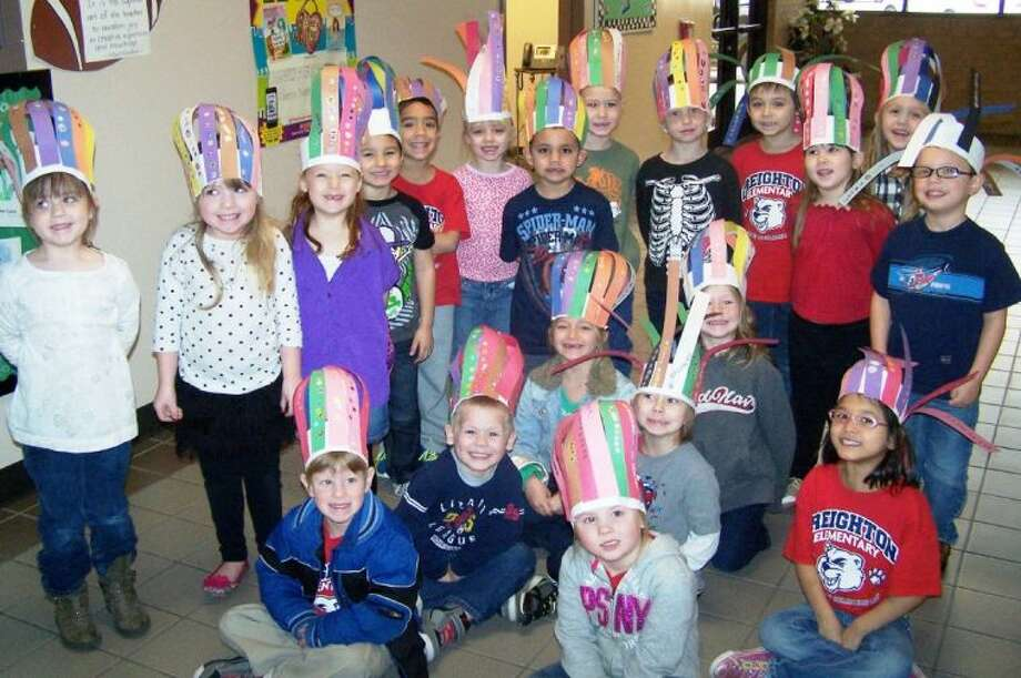 Mrs. Vitale's kindergarten class at Creighton Elementary celebrated the 100th day of school with their 100-sticker hats.