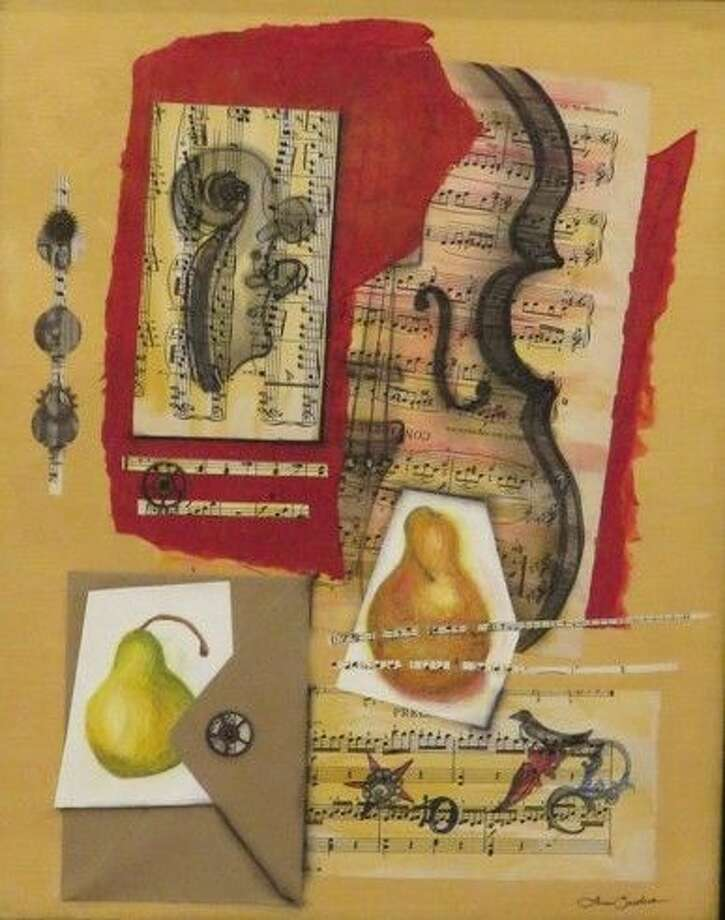 "A mixed-media painting by Terri Sanders titled ""Music in Pieces,"" which is part of the ""Art de Musique"" exhibit currently on display at the Gallery at the Madeley Building in downtown Conroe."