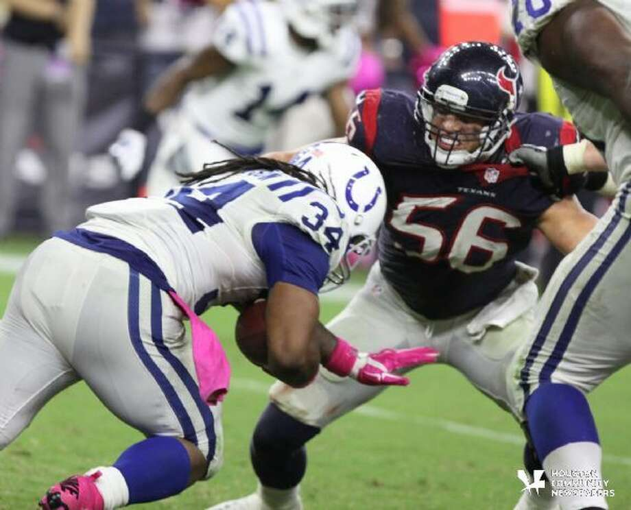 Brian Cushing in action against Indianapolis last year. Photo: Photo By Alan Warren