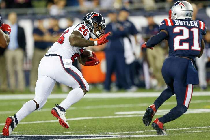 Running back Lamar Miller, left, has found precious little to room to run during the Texans' first three games of the season.