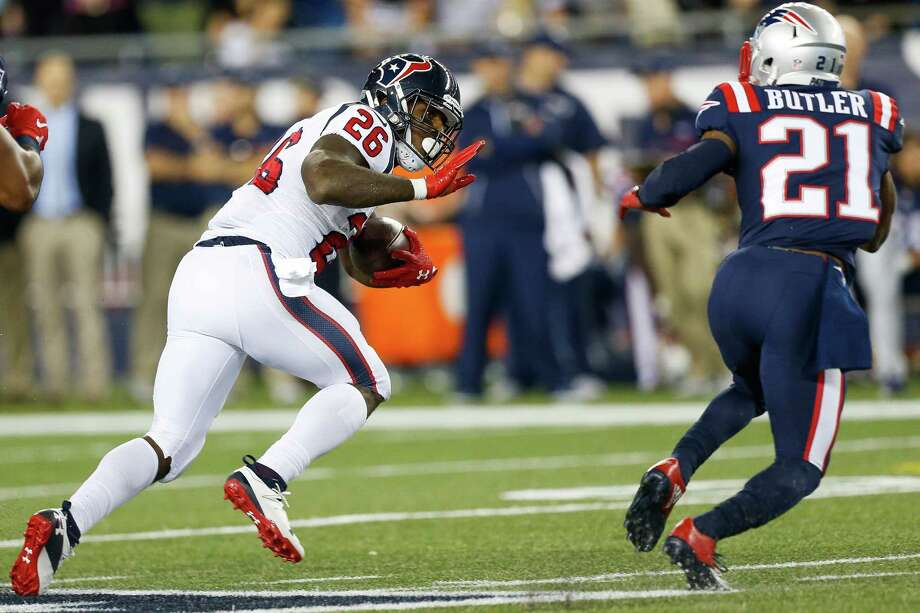 Running back Lamar Miller, left, has found precious little to room to run during the Texans' first three games of the season. Photo: Brett Coomer, Staff / © 2016 Houston Chronicle