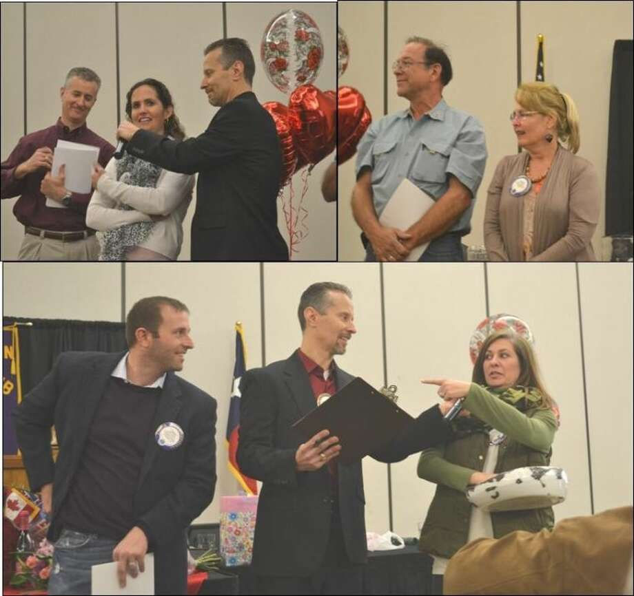During the 'Sweethearts Day' celebration at last week's Conroe Noon Lions Club luncheon; MC Mike Sproba conducted a fun rendition of the 'Not So New-Newly Wed Game.' Couples pictured: (top left) Rich and Christie Sproba, (top right) Karl and Jane Johnson, (bottom) Jake and Cara Adams.