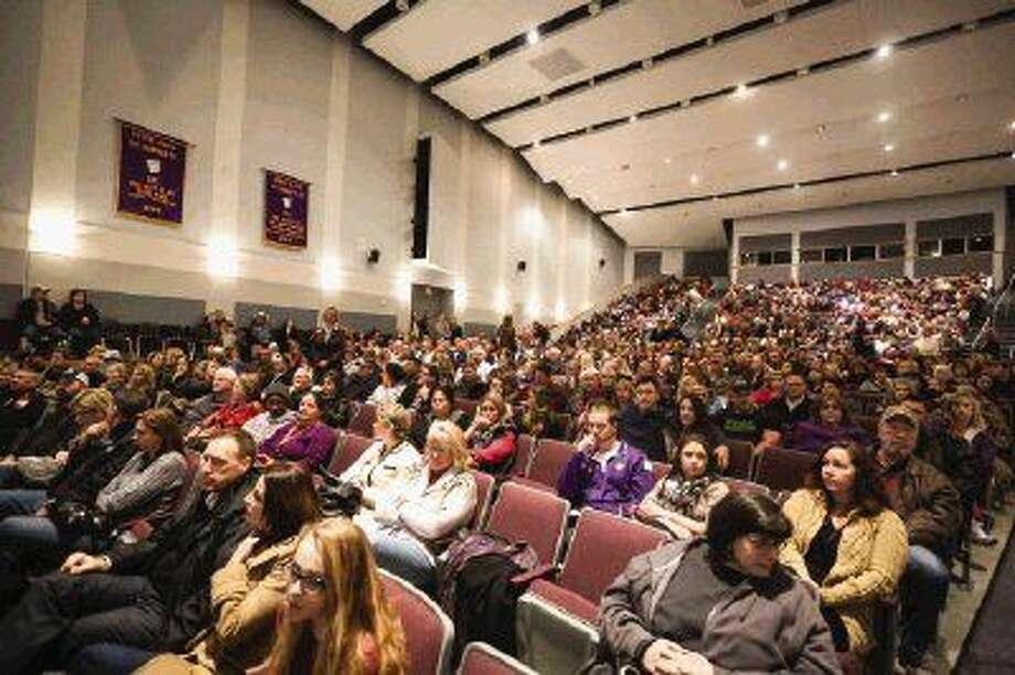 Montgomery ISD administrators educate and engage parents on a popular drug, synthetic LSD, during the parent meeting on Monday at Montgomery High School. Photo: Michael Minasi