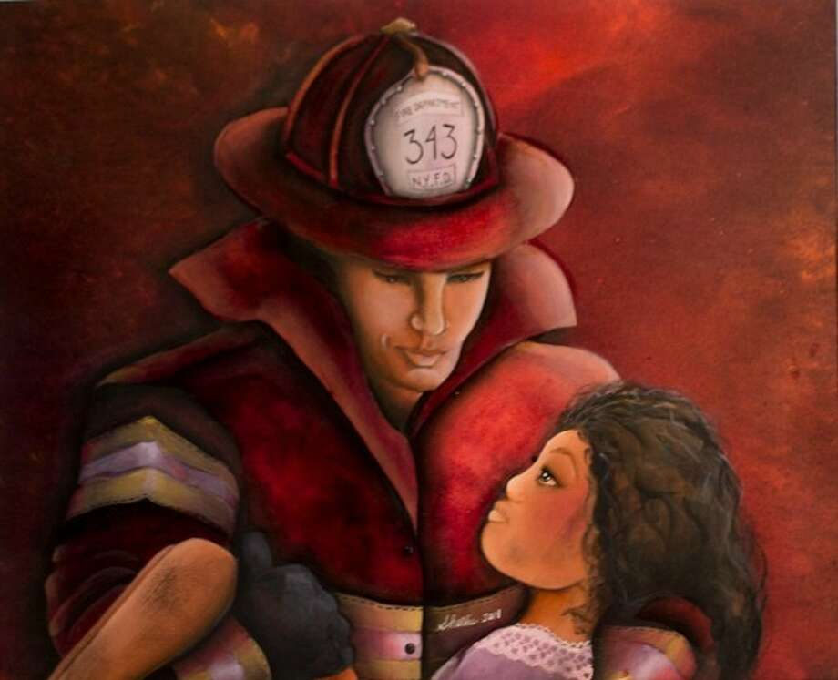 "This acrylic painting, titled ""Firefighter,"" by Samantha Hollis, is currently on display at the Gallery at the Madeley Building. Photo: Nikie Wishnow / ©Wyn Photography 2014"